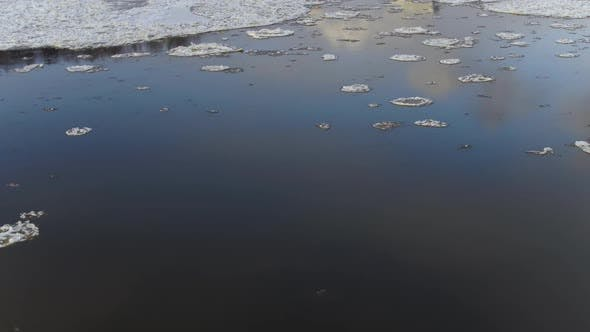 Flying Over the Freezing River