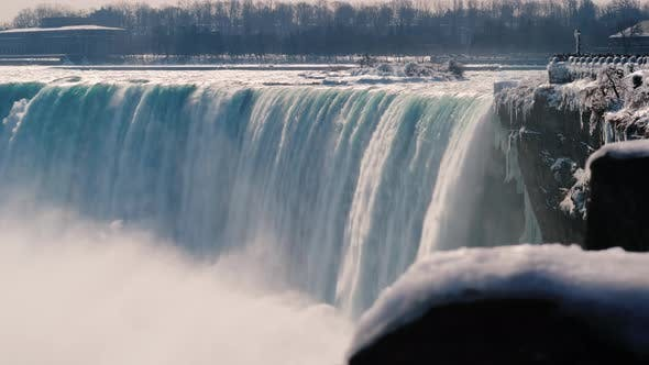Thumbnail for A Waterfall in the Shape of a Horseshoe in the Winter Season. The Famous Niagara Falls
