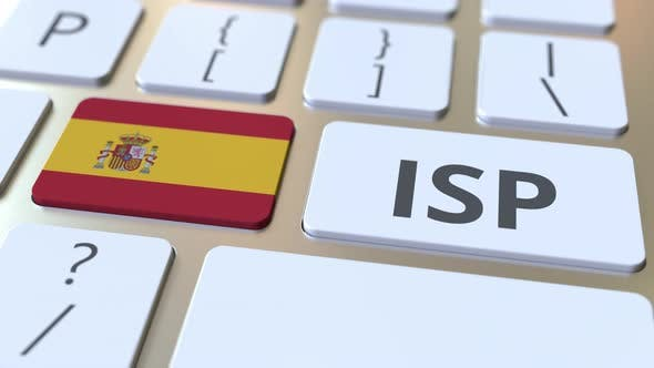 Thumbnail for ISP or Internet Service Provider Text and Flag of Spain on Keyboard
