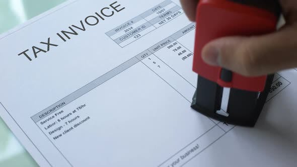 Thumbnail for Tax Invoice Debt Worker Hand Stamping Seal on Commercial Document Business
