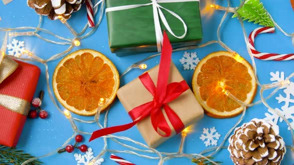 Thumbnail for Christmas Gifts and Decorations on Blue Background