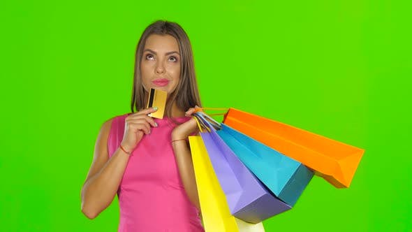 Thumbnail for Woman with Shopping Bags and Credit Card, Green Screen