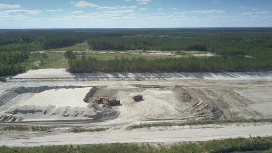 Thumbnail for Sand Quarry with Machines Under People Control Aerial View