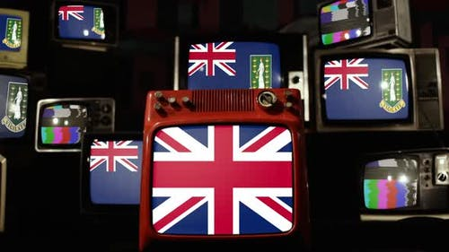 British Virgin Islands flags and UK Flag on Retro TVs.