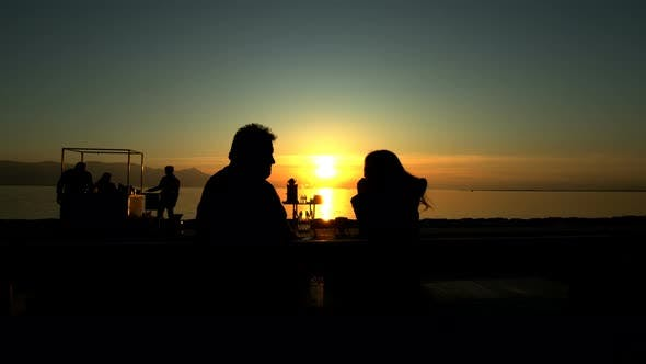 Thumbnail for People Silhouette And Sunset And Sea 4