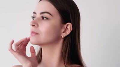 Beauty Portrait Skin Care Woman Touching Soft Face
