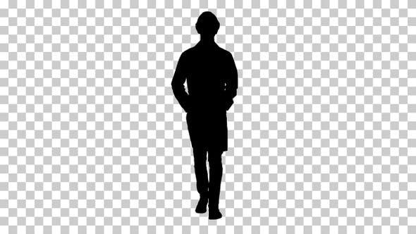 Silhouette  engineer walking , Alpha Channel