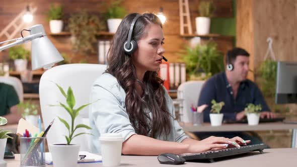 Thumbnail for Customer Support Operators Are Working in Cozy Office