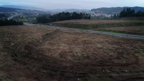 Aerial View Moto Race on Racing Track