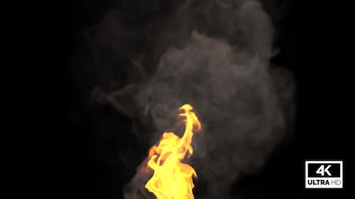 Realistic Fire Rising With Smoke