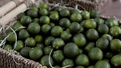 Lime Citrus Fruits In Fruit Market Close Up Lot