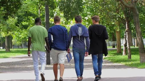 College of Students Walking Together on Campus. Slow Motion