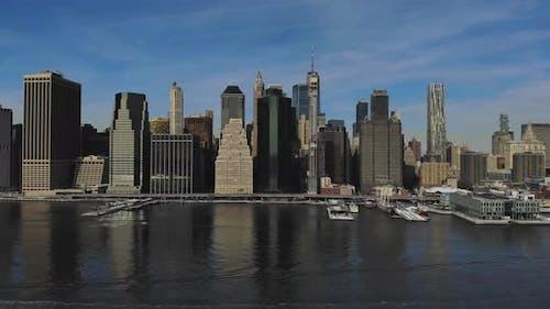 Amazing Panorama View Lower Manhattan Skyline From the Air
