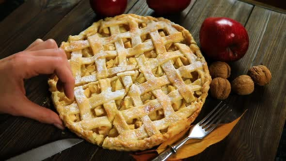 Thumbnail for Homemade American Apple Pie Decorated with Fresh Apples and Autumn Leaves