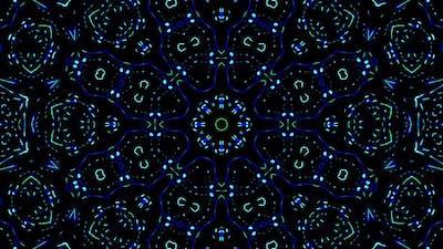 Bright abstract light flickering streaks set blue color, kaleidoscope