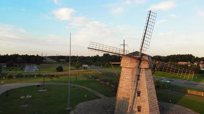 Fly Over Old Windmill In Lithuania