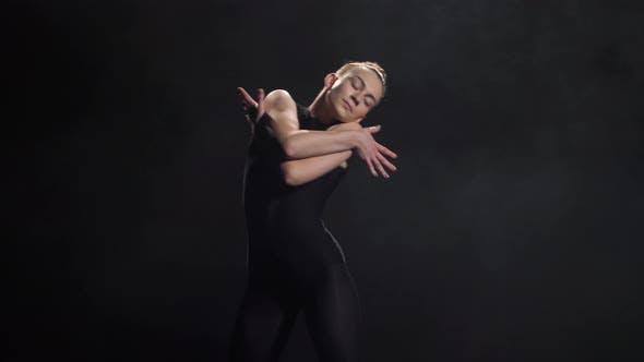 Thumbnail for Pretty Girl Artist Dancing in Twilight of Studio