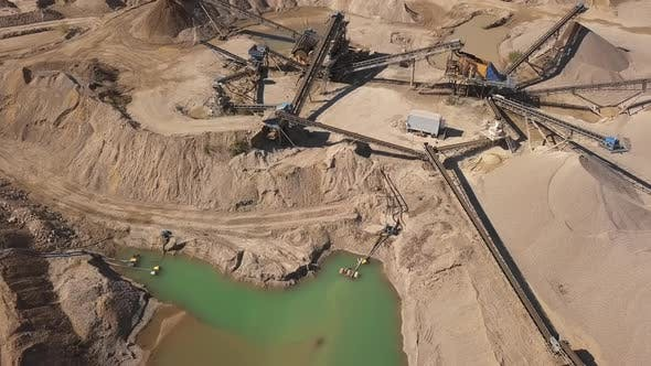 Aerial View of Crushed Stone Quarry Machine