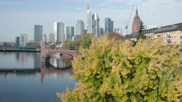 Aerial shot of the skyline of Frankfurt am Main in Germany with the river Main