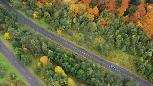 Aerial View Of Mountain Road At The Autumn Forest
