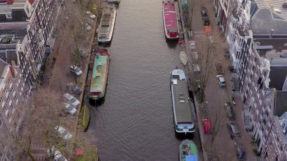 Thumbnail for Amsterdam Canal Flyover in the Evening