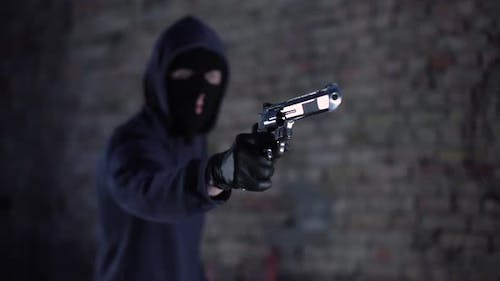 Bandit Threatening With Gun, Gangster Holding Weapon, Robbery, Aggression