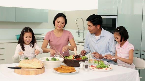 Thumbnail for Happy Family Having Dinner Together