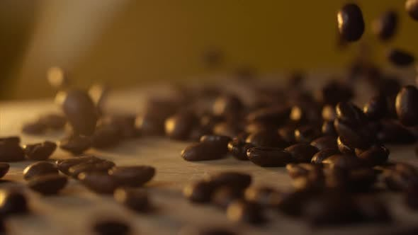 Thumbnail for Fresh Coffee Beans Falling on Table in Slowmo