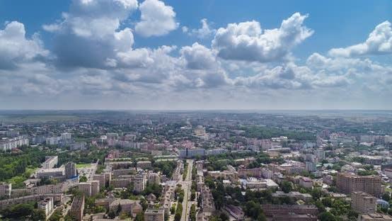 Aerial Timelapse Over City Rivne, Ukraine