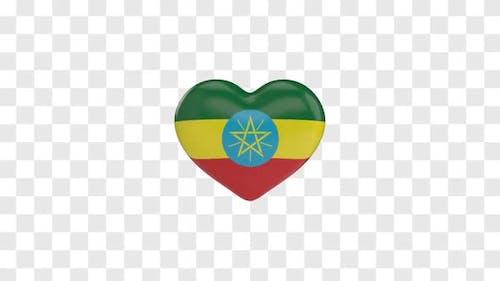 Ethiopia Flag on a Rotating 3D Heart