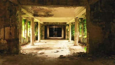 Old Spooky Abandoned Buildings Zoom In Background
