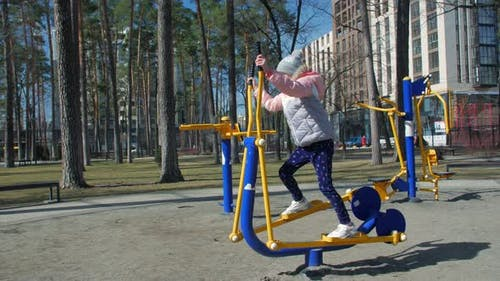 Girl On Outdoors Sports Simulator