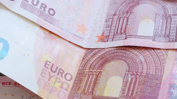 Thumbnail for Many Euro European Union paper bank notes in the row 4K 2160p 30fps UltraHD footage - Business conce