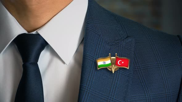 Thumbnail for Businessman Friend Flags Pin India Turkey