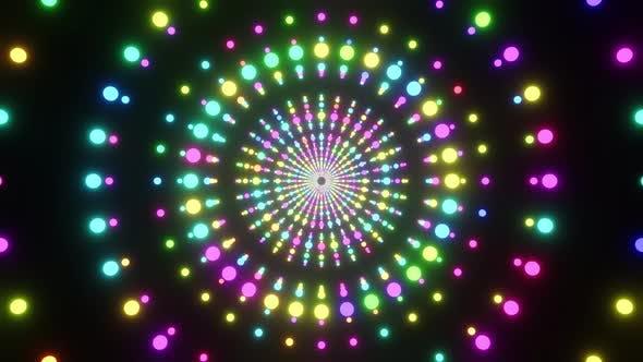 Ring Tunnel Of Neon Balls 4K