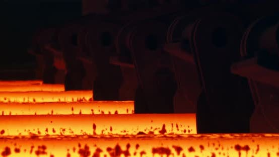 Thumbnail for Iron foundry. Continuous casting machine. Steel billet moving through the pipeline.