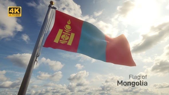 Thumbnail for Mongolia Flag on a Flagpole - 4K