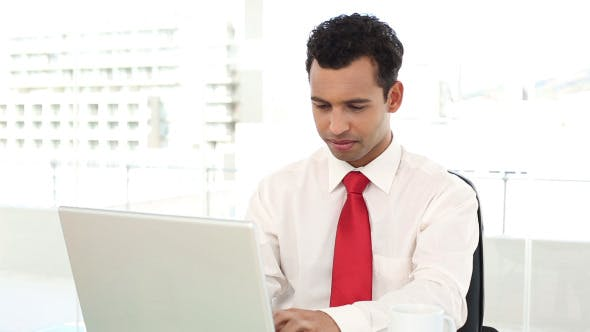 Thumbnail for Cheerful Handsome Businessman Typing On Laptop
