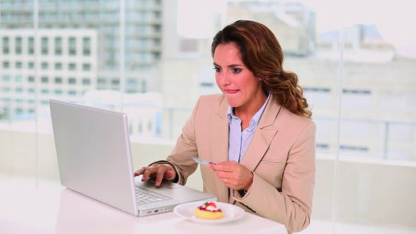 Thumbnail for Smiling Attractive Businesswoman Buying Online