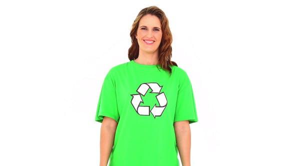 Smiling Environmental Activist Showing Money Bags