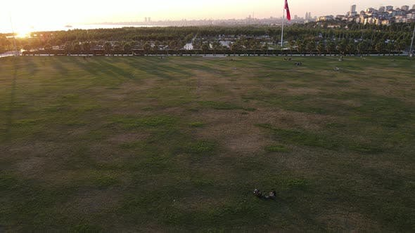 Thumbnail for Life in the City Park after Coronavirus Drone Shot