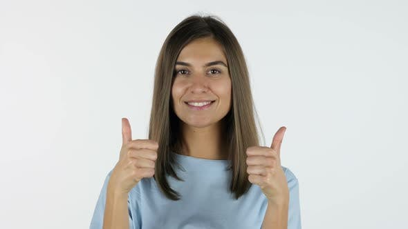 Cover Image for Thumbs Up by Beautiful Girl, White Background in Studio