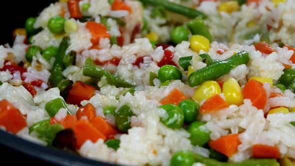 Roasting Traditional Mexican Vegetables Mix Corn Red Bell Pepper Green Beans Green Peas