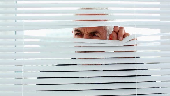 Businessman Spying Through Blinds 3