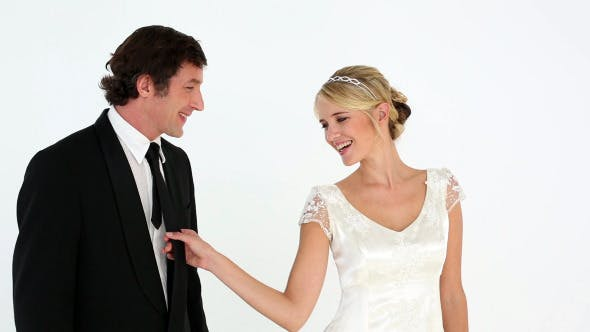 Newlyweds Having Fun Together