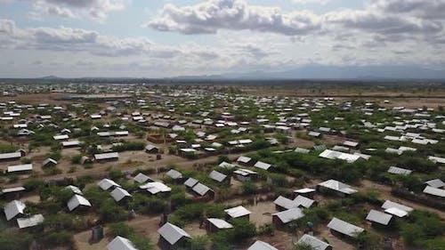Aerial view of Kakuma refugee camp in Kenya. 4K