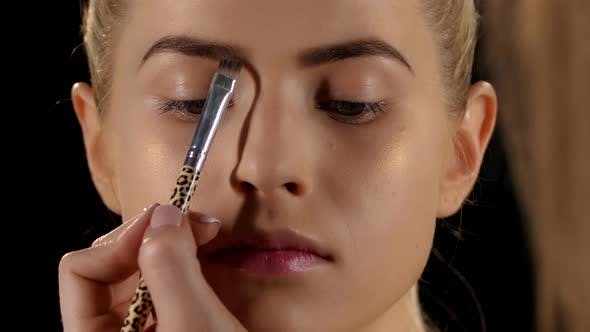 Thumbnail for Beautiful Girl Getting Professional Makeup. Black. Closeup