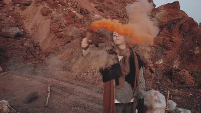 Woman Dancing with Smoke Bomb in Post Apocalyptic World