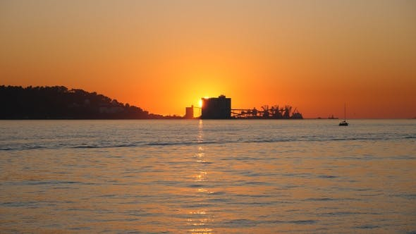 Thumbnail for Industrial port at sunset (Lisbon, Portugal)