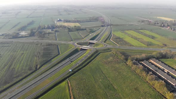Thumbnail for Aerial Top View of the Motorway. Interchange Between the Motorway and the City